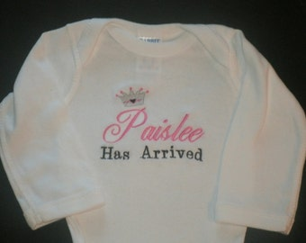 Personalized Baby Announcement Bodysuit or Gown,  Birth Announcement Coming Home Layette, Newborn Girl Take Home