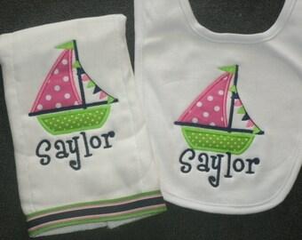 Personalized Sailboat Bib and Burp cloth Set Monogrammed