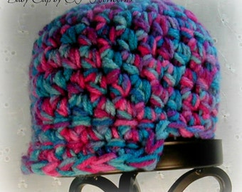 Crochet  baby cap in pink and blue