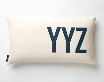 Airport Code Pillow Cover in Off-white