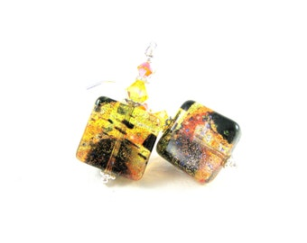 Klimt Murano Earrings, Venetian Murano Earrings, Yellow Orange Black Earrings, Fall Autumn Earrings, Beadwork Dangle Earrings - Solar