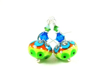 Neon Glass Earrings, Colorful Earrings, Lampwork Earrings, Blue Green Orange Earrings. Southwestern Earrings, Dangle Earrings - Playful