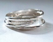 Hammered Sterling Silver Ring, Stackable Silver Ring