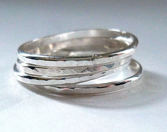 Hammered Sterling Silver Ring Set, 4 Stackable Sterling Silver Rings