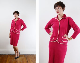 1960s Hot Pink Wool Suit - S/M
