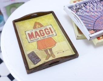 MAGGI Vintage Wooden Tray.  Perfect for Decoration - French Dollhouse Miniature in 12th Scale
