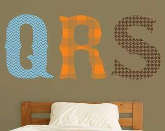 monogram wall decal with pattern, cottage chic, folk art, initials, vinyl wall art, FREE SHIPPING