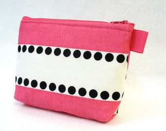 Clearance SALE Fabric Gadget Pouch Lulu Stripe Cosmetic Bag Zipper Pouch Makeup Bag Hot Pink Black White Dots Bridesmaid Gift