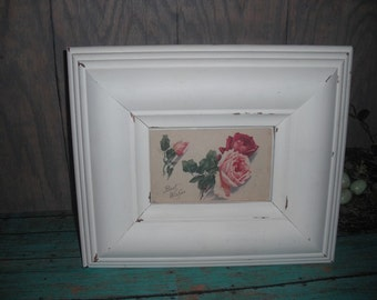 Vintage white chunky frame with Antique Roses Post Card Shabby chic Romantic Cottage