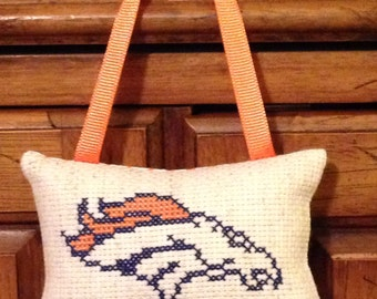 Denver Broncos Counted Cross Stitch Hanging Pillow