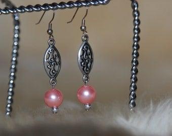 30% OFF SALE --  Pink Pearl Earrings