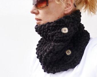 Womens Cowl, Black Handknitted Cowl, scarf, neckwarmer 100% merino wool