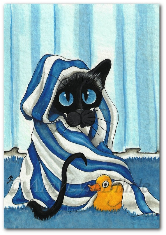 Siamese Cat Wrapped In Bath Towel Rubber Duck Art By