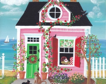 Cherry Lane Cottage Folk Art Print