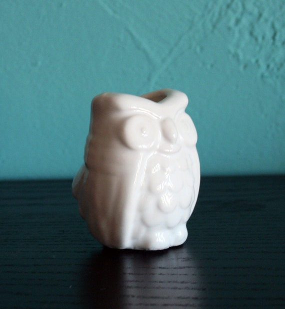 Items Similar To Small Owl White Ceramic Bud Vase On Etsy
