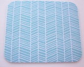 Herringbone Mouse Pad mousepad / Mat - Rectangle or round - chevron white on aqua blue