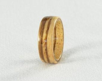 Wood Ring - Zebra Wood Bentwood Ring - Wedding Ring, Wedding Band, or Engagement Ring - All Natural - Handmade