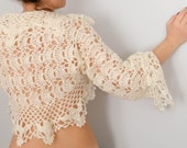 Crochet Shrug, Crochet bolero, Lace crochet shrug, long sleeve shrug, cropped jacket, Wedding shrug, Bridal shrug, Wool mohair shrug,