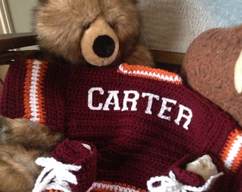 Team crocheted sweater set and matching helmet hat or sneakers YOUR CHOICE
