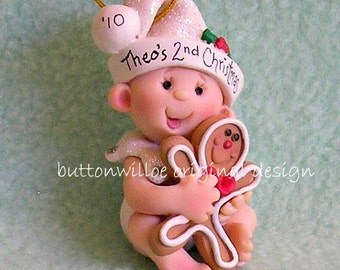 Baby with Gingerbread Baby's 1st Christmas Ornament / Babys First Christmas Ornament / Baby with Gingerbread Cookie