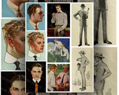 Men's 1920s Fashion Illustrations Digital Collage Sheet Large Images Instant Printable Download