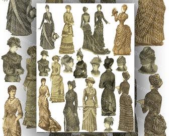 Vintage Illustrations of Victorian Ladies Digital Collage Sheet Large Images Instant Printable Download