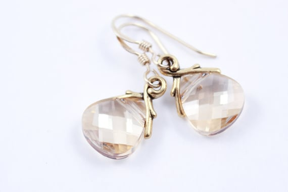 Bridesmaid Jewelry Crystal Golden Shadow Earrings in Gold or Silver