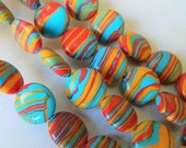 SALE 14mm Multicolor Turquoise Coin Beads 9pcs.