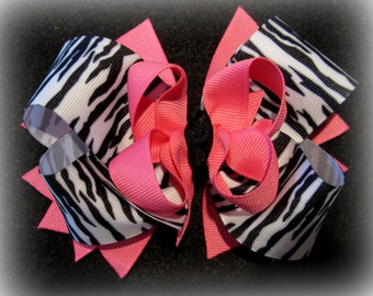 Zebra Pink Funky Boutique Hair Bow 3 Layers of Ribbon and Spikes Animal Print Hairbows