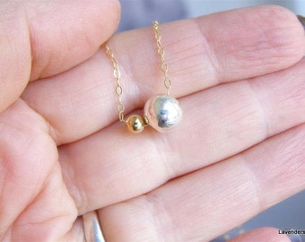 Ball Necklace , Mix Metal Necklace  , Two Balls  Charm Necklace , Modern Everyday Necklace