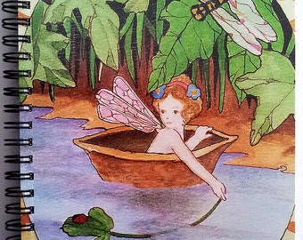 FAIRY Journal Notebook Diary RIVER RIDE Faerie Lynne French Art 80 Pgs.Spiral Bound