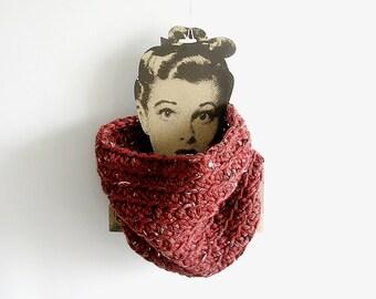 Rust Brown Crochet Neckwarmer  Unisex Scarf Man Woman Neckwarmer