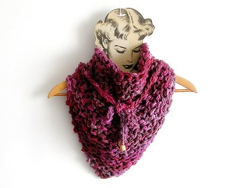 Chunky Knit Scarf Fuchsia Shaded Cowl Triangular Hot Pink