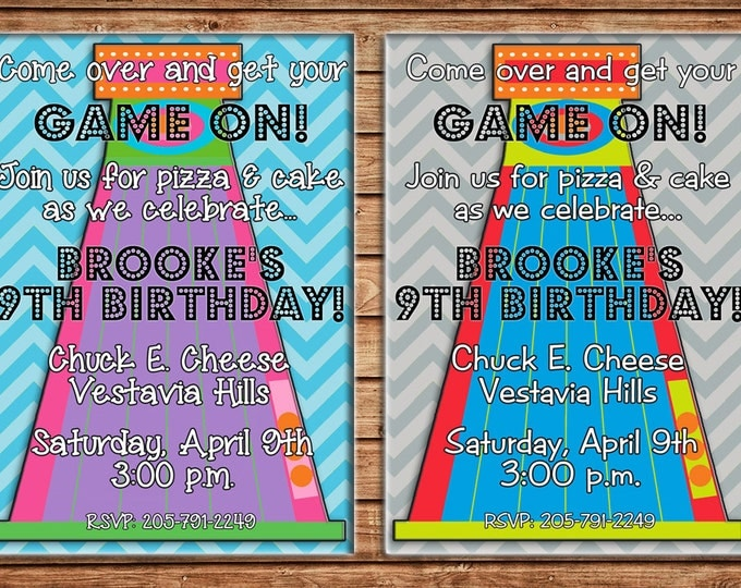 Boy or Girl Invitation Skeeball Arcade Birthday Party - Can personalize colors /wording - Printable File or Printed Cards