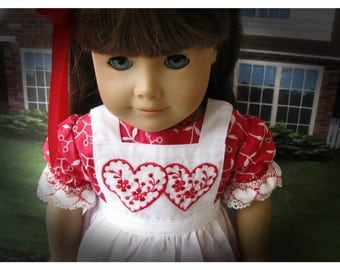 Eighteen 18 Inch Valentines Doll Dress and Pinafore