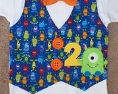 Monster Mash Birthday Vest and Bow Tie shirt