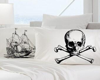 2 pillow cases black SHIP skull crossbones Nautical jack Ship's theme of the bones pirate ocean steam punk treasure danger Anchor pillowcase