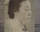 Nice Vintage Japanese Geisha Maiko Side Portrait Postcard