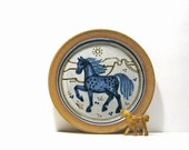 RESERVED Vintage Handmade Horse Art Ceramic Pottery Plate Dish