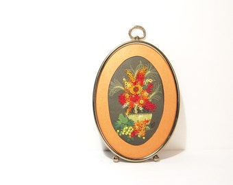 Embroidery Flowers Needlework Small Oval Frame Vintage Art
