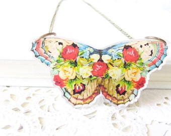 Vintage Inspired Laser Cut Acrylic Butterfly Pendant Necklace - Floral Butterfly - Roses