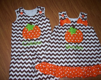 Custom BOUTIQUE Personalized Chevron Halloween Thanksgiving Pumpkin Brother Sister set romper and dress