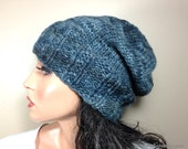 Womens Slouchy Knit Hat, 100% Hand Dyed Baby Alpaca, Handknit Custom Made for Adults & Girls // MADISON // Shown in Color H11