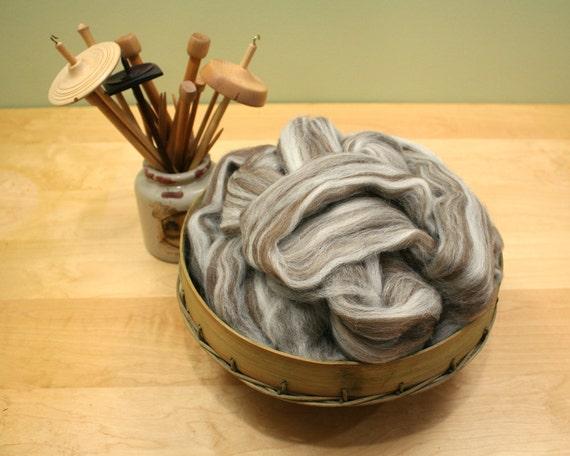Shetland Wool Top - Humbug - Undyed Roving for Spinning or Felting (8oz)