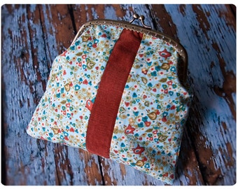 whimsical clasp purse - the lissa clasp purse of corduroy and cotton - retro inspired whimsy at its finest