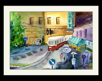 Trolley In Vienna - Framed Limited Edition Watercolor Print