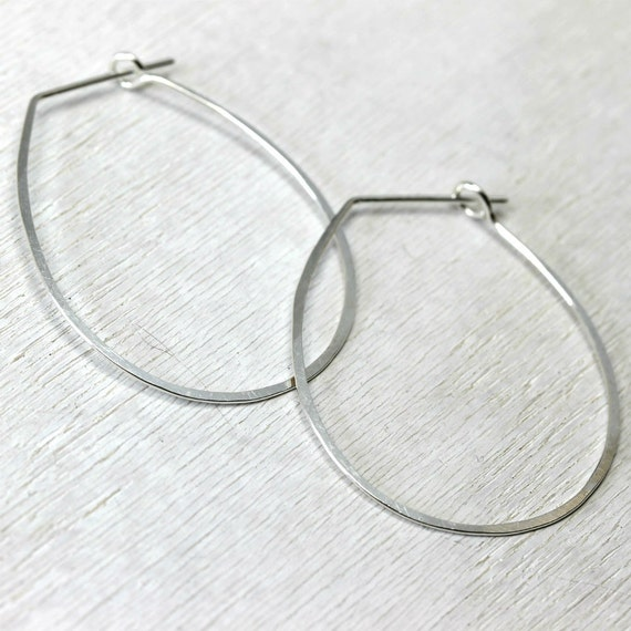 Ophelia handmade earrings - sterling silver teardrops -  by lotusstone on etsy