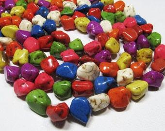 "15.5"" Gemstone STRAND - Howlite Beads - Organic Nuggets -  Multi-Colored (15.5"" strand - 25 beads) - str572"