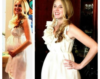 Baby Shower Dress Maternity Custom Size Boho Ruffle Bow Patisserie Cotton Handmade Ivory Cream By SavoyFaire