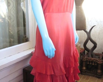 Late 1920s-Early 1930s Antique Carmen Miranda Inspired Dress Taffeta Ruffles Divine Coral Color 36 Bust